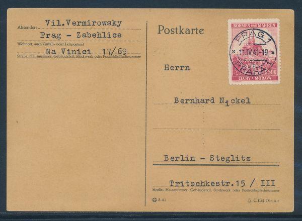 Böhmen und Mähren Mi.Nr.30 auf Karte nach Berlin