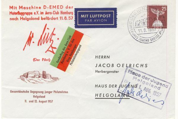 Berlin Ganzsache als Sonderflug1957