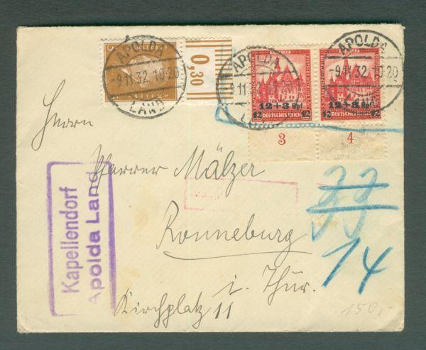 Deutsches Reich Mi.Nr.464 Unterrandpaar auf Brief