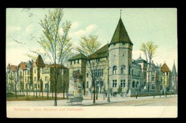 KARLSRUHE Farbige Karte 1912