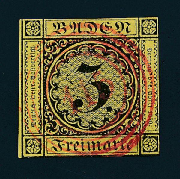 Baden Mi.Nr.2 gestempelt mit rotem Nummernstempel 115