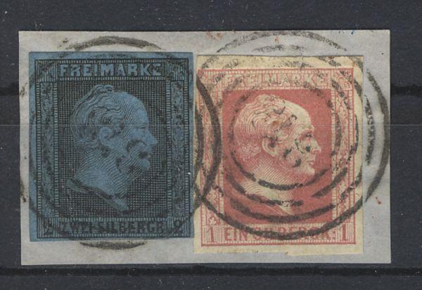 Preussen Mi.Nr.3 + 6 Briefstück Mischfrankatur