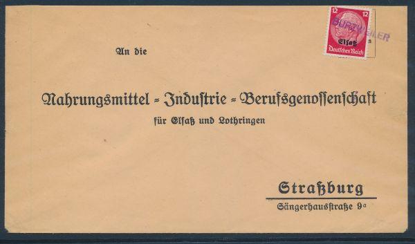 Elsaß Provisorischer Stempel Burzweiler auf Brief