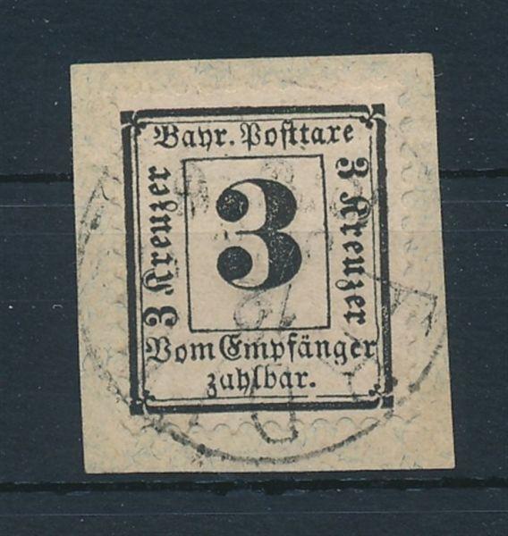 Bayern Porto Mi.Nr.3 X gestempelt Luxus Fotobefund BPP
