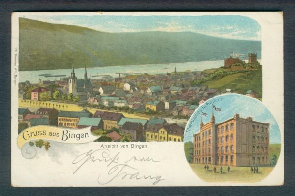 Bingen Litho 1900 nach Basel-dortiger Ankunftsstempel