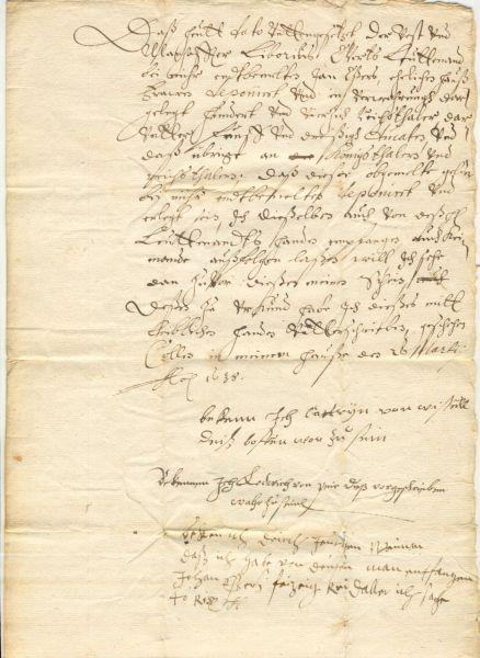 Obligationsbrief aus dem Jahre 1638