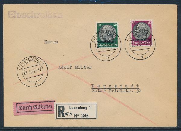 Luxemburg Mi.Nr.13+14 Einschreiben + Eilboten+AK