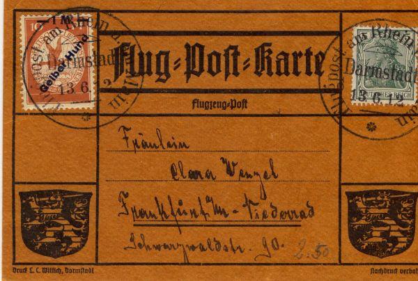 Deutsches Reich Mi.Nr. IV auf Flugpostkarte