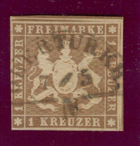 Württemberg Mi.Nr.6 c gestempelt geprüft BPP