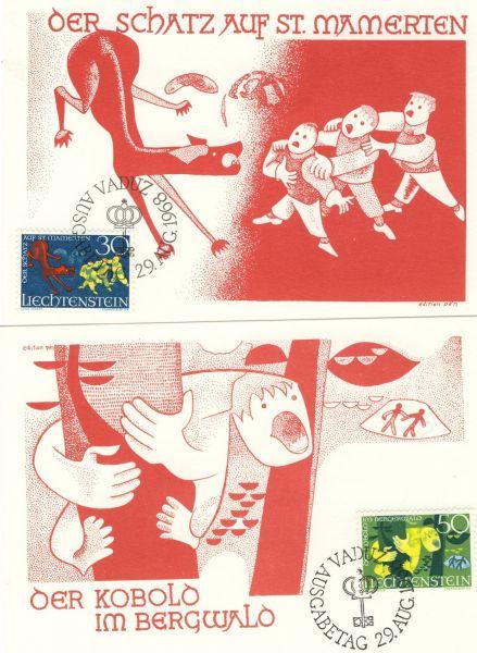 Liechtenstein Mi.Nr.497-99 Alte Maximumkarten