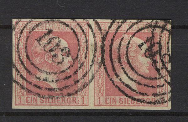 Preussen Mi.Nr.6 Paar dünnes Papier gestempelt