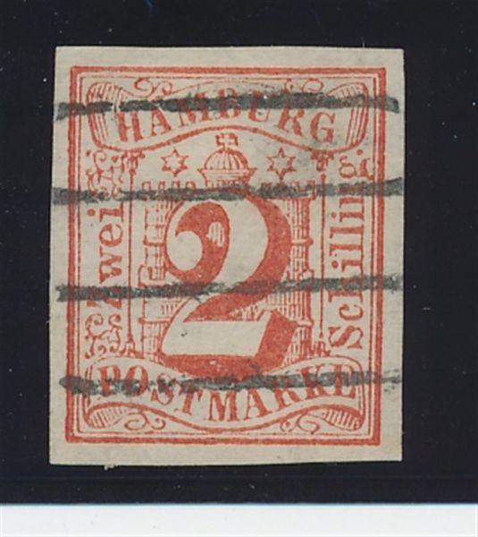 Hamburg Mi.Nr.3 gestempelt ohne WZ Lux Fotobefund BPP