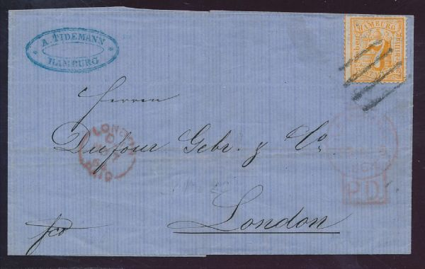 Hamburg Mi.Nr.17 auf Brief Luxus Fotoattest BPP