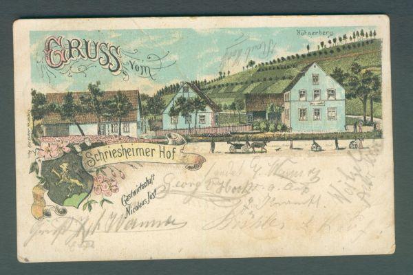 Schriesheimer Hof Litho 1900 Alte Ansichtskarte