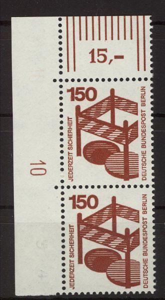 Berlin Mi.Nr.411 Eckrandpaar mit DZ 10 **