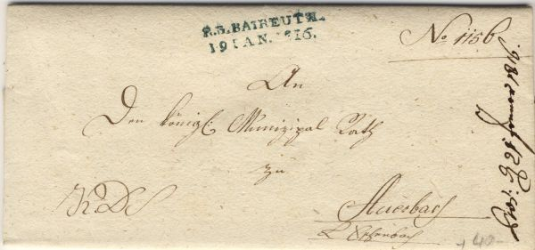 Bayreuth Vorphila-/Altbeleg R.3.Baireuth blau