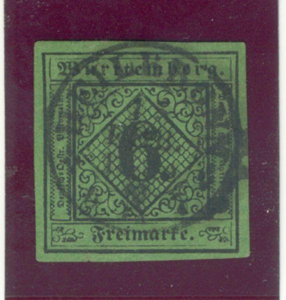 Württemberg Mi.Nr.3 y gestempelt geprüft BPP