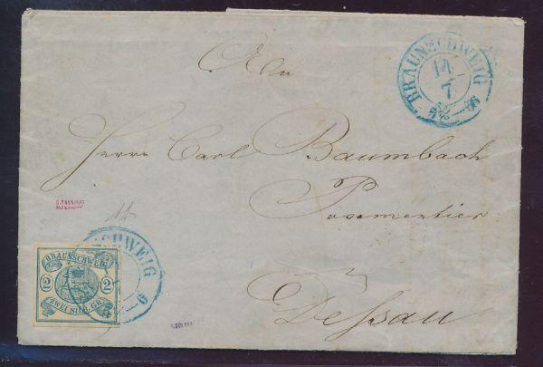 Braunschweig Mi.Nr.2 auf Brief Luxus Fotoattest BPP