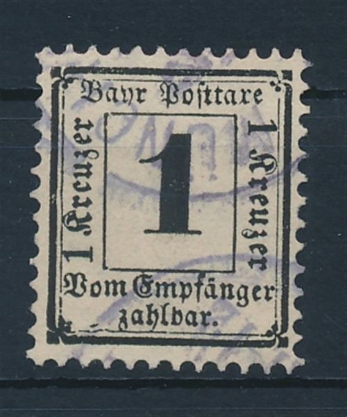Bayern Porto Mi.Nr.2 X gestempelt Luxus Fotoattest BPP