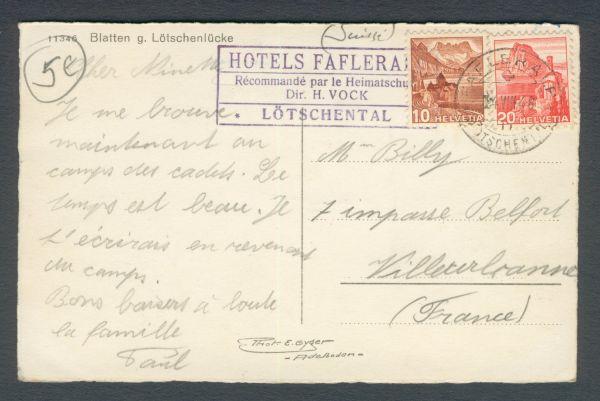 HOTELPOST Lötschental 1948 Interessanter Beleg