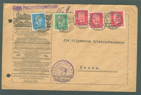 Deutsches Reich Gladebeck mit amtlicher Lochung