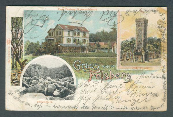 Hotel Felsberg Litho Interessante Ansichtskarte