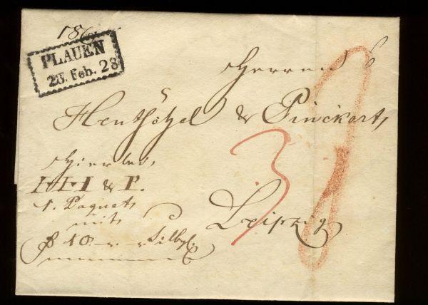 Plauen Sachsen 1828 Vorphila-/Altbeleg