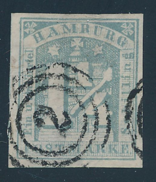 Hamburg Mi.Nr.8d I gestempelt Luxus Fotoattest BPP