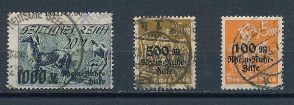 Deutsches Reich Mi.Nr.258-60 gestempelt geprüft Infla