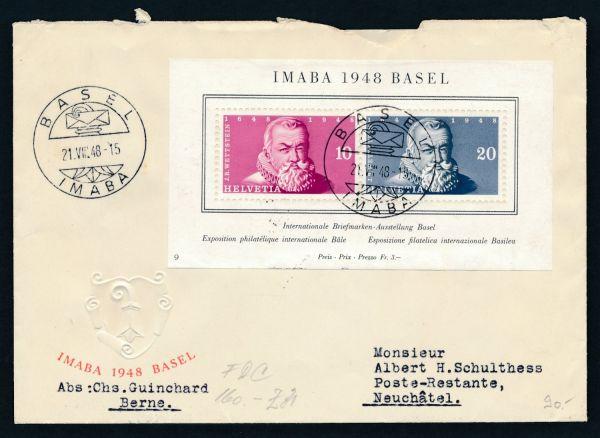 Schweiz Block 13 FDC Ersttagsbrief