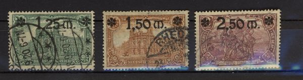 Deutsches Reich Mi.Nr.116-18 gestempelt geprüft Infla