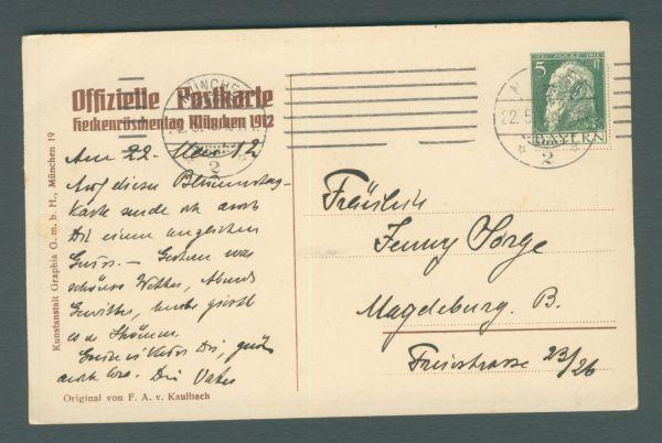 Bayern Heckenröschentag München 1912 Ganzsache