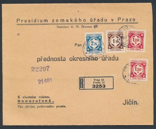 Böhmen und Mähren Diensteinschreiben