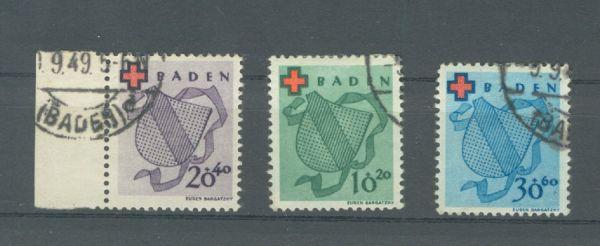 Franz.Zone Baden Mi.Nr.42-44 gestempelt FA BPP einwand