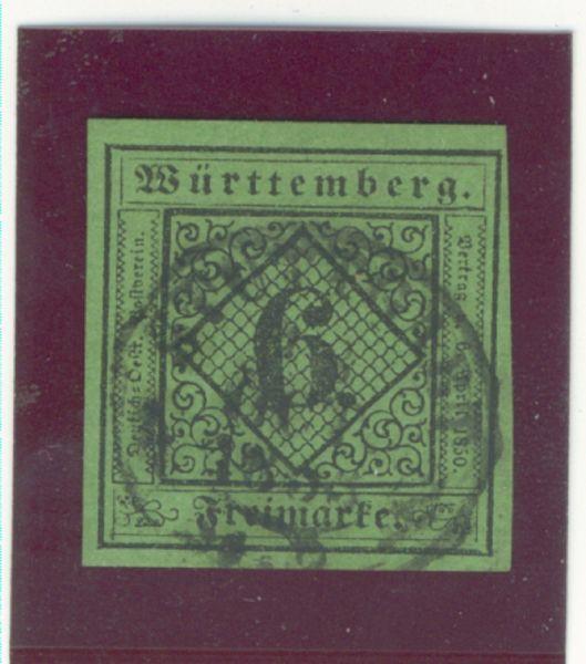 Württemberg Mi.Nr.3 gestempelt geprüft BPP