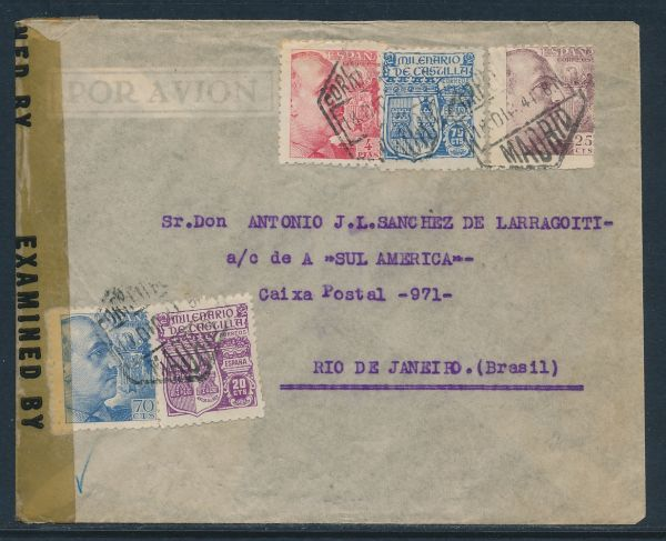 Spanien Brief 1944 nach Brasilien mit Zensur
