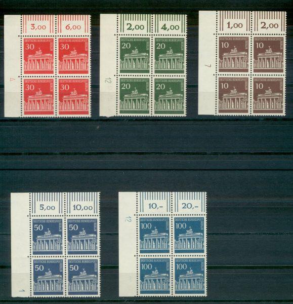 Berlin Mi.Nr.286-90 Eckrandviererblocks ** mit DZ