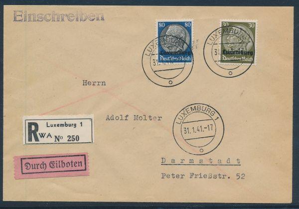Luxemburg Mi.Nr.11 und 15 Einschreiben + Eilboten+AK