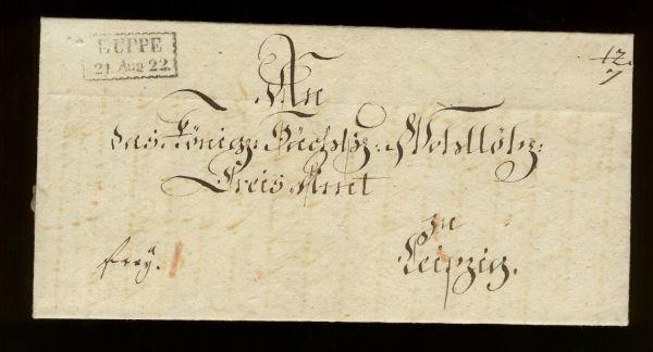 Luppe Sachsen 1822 Vorphila-/Altbeleg sehr selten !!
