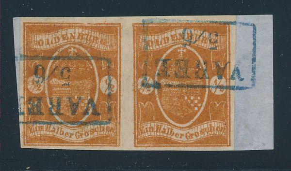 Oldenburg Mi.Nr.11a Paar gestempelt Lux Fotoattest BPP