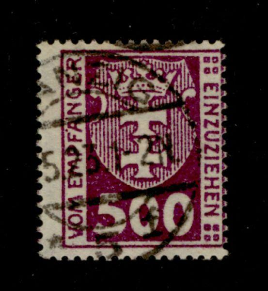 Danzig Porto Mi.Nr.19 Y gestempelt Fotoattest BPP Lux