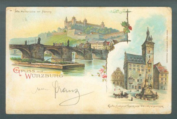 Würzburg Litho 1901 Interessante Ansichtskarte