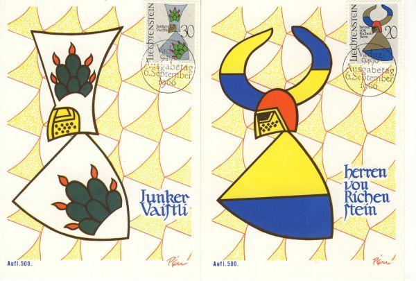 Liechtenstein Mi.Nr.465-68 Alte Maximumkarten