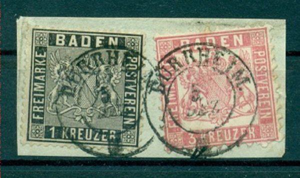 Baden Mi.Nr. 9 +18 auf Briefstück, Fotobefund Flemming
