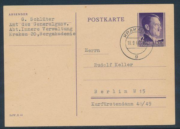 Generalgouvernement Ganzsache P 13 Krakau - Berlin