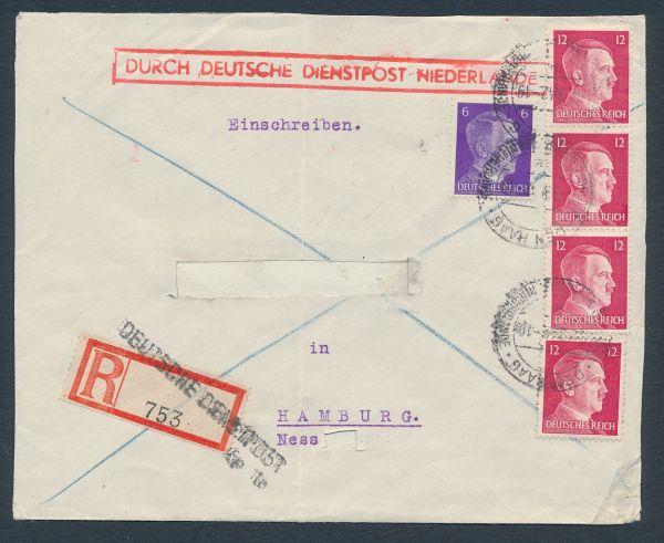Durch Deutsche Dienstpost Niederlande Einschreiben1942