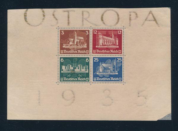 Deutsches Reich Block 3 Einzelmarken auf Unterlage