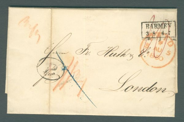 Barmen-London 1850 mit Inhalt Vorphila-/Altbeleg