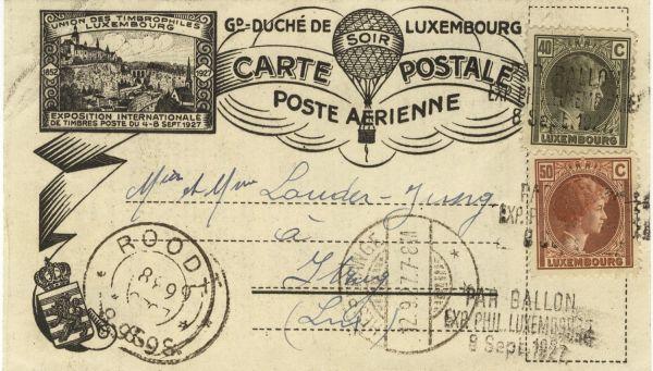 Luxemburg Ballonpost 1927