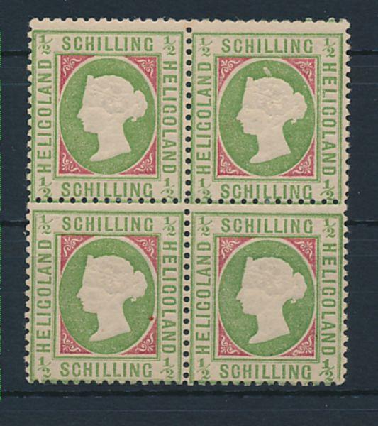 Helgoland Mi.Nr.6 e Viererblock * Lux Fotoattest BPP